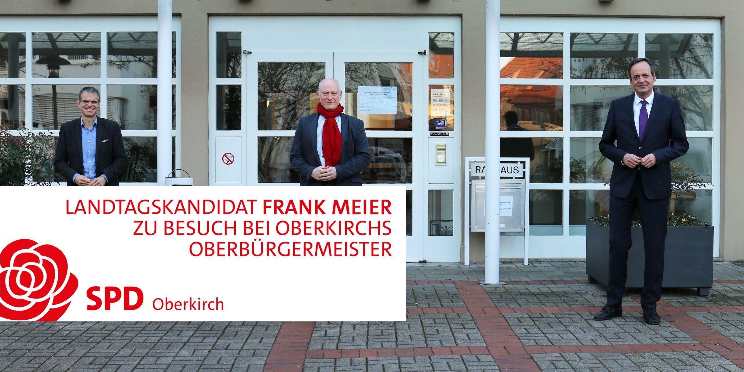von links: Christoph Lipps (Bürgermeister von Oberkirch), Frank Meier (SPD-Kandidat für die Landtagswahlen 2021) und Matthias Braun (Oberbürgermeister von Oberkirch)
